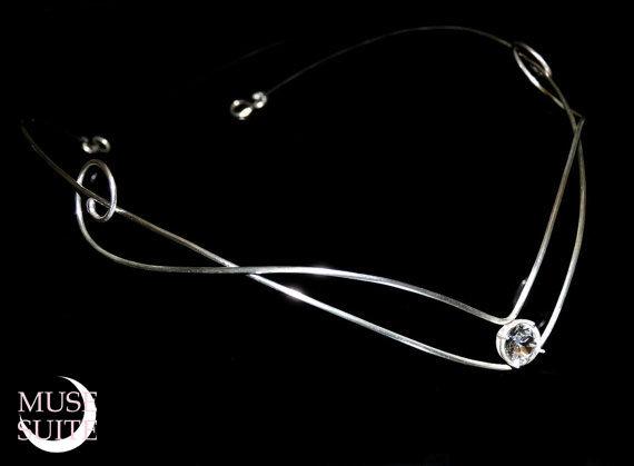 Elven Tiara with swarovski elements - Sterling Silver