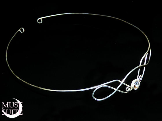 Elven tiara - Elf crown Unisex - Sterling Silver with black swarovski crystals