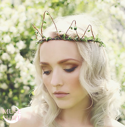 Green Royal Nymph Crown - Forest fantasy, woodland, fairytale.