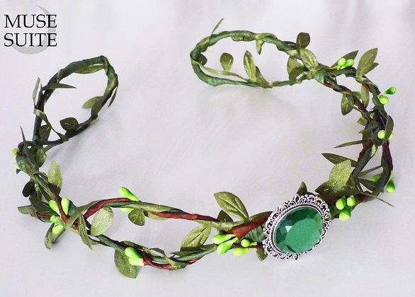 Green elf crown, elvish diadem, green medieval circlet
