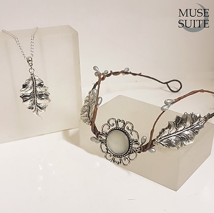 Silver Winter SET - Leaf tiara with necklace