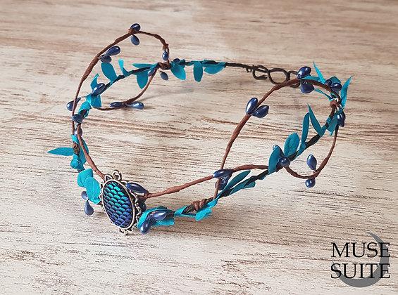Mermaid tiara or Dragon egg crown - blue circlet.