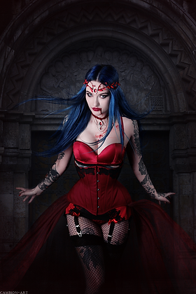 Red Vampire SET with a gothic red tiara and a gothic velvet choker