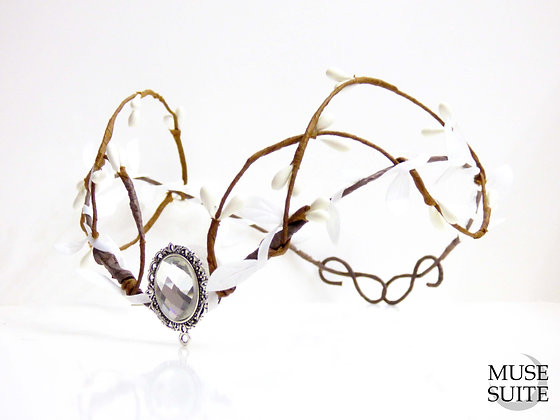 White bride Tiara - Wedding crown - elf circlet - winter elven queen