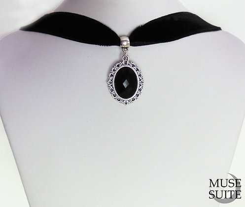 Cameo Choker - victorian choker - baroque velvet necklace