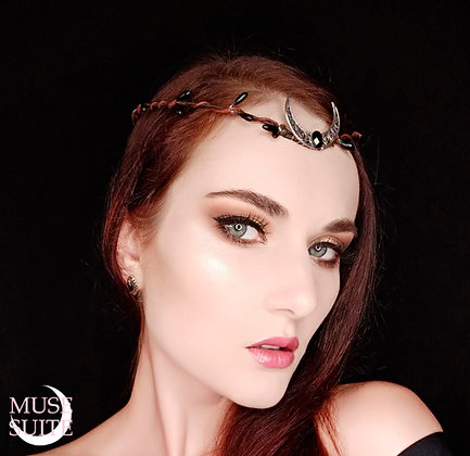 Crescent Moon Circlet with a faceted cabochon, goddessy tiara.