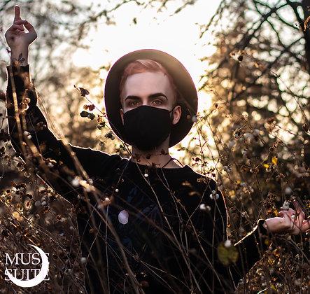Black Mask - Full Black dark face mask cover - cotton masqu