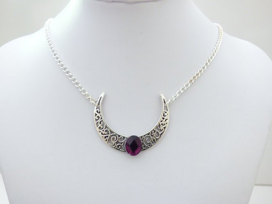 Moon Necklace/Dif.Colours/ with crystal - wiccan witchy collar