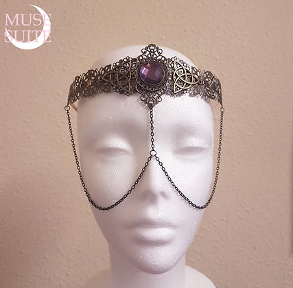 Medieval Crown with triketa,royal wiccan hairdress,renacentist headdress,goddess