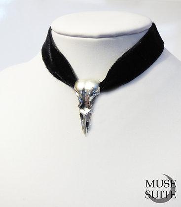 Bird skull choker - velvet choker - gothic choker