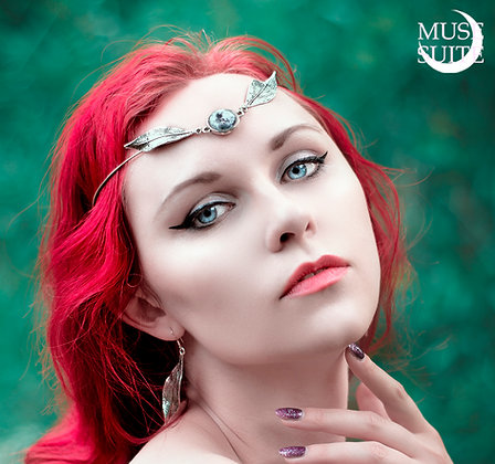 Full moon & Leaves SET of tiara & earrings -Witchy Line -Goddessy Collection