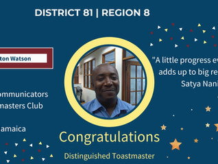 Congratulations to these Distinguished Toastmasters!