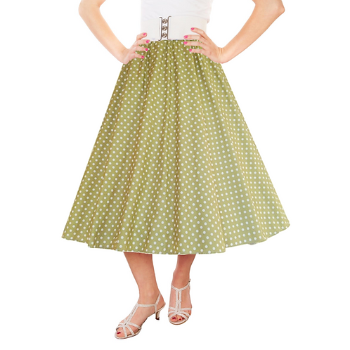 IC263 Olive 1950's Style 'Dotty' Skirt
