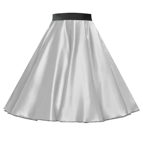 Satin Rock n Roll Skirt Silver
