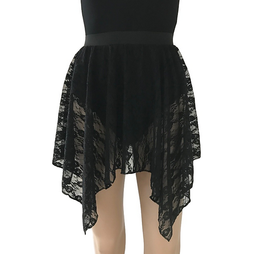 Girls black lace lyrical skirt