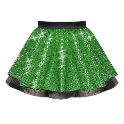 IC122 Green Sequin Tutu Dance Show Skirt