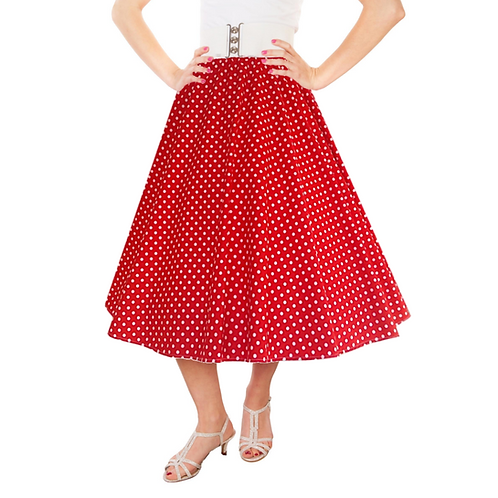 IC263 Red 1950's Style 'Dotty' Skirt