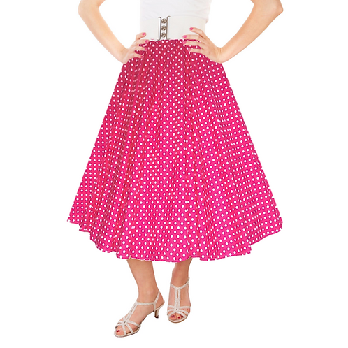 IC263 Cerise 1950's Style 'Dotty' Skirt