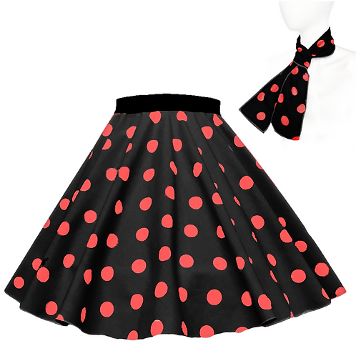 Black and Red Polka Dot Rock n Roll Skirt