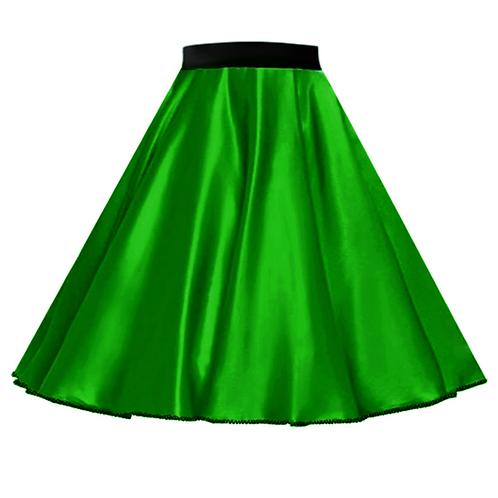 IC272 Satin Rock N Roll Skirt Green