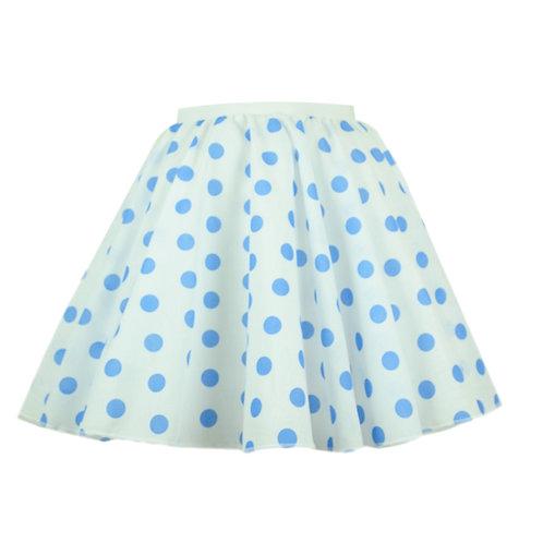 White and Blue Polka dot Rock n Roll Skirt