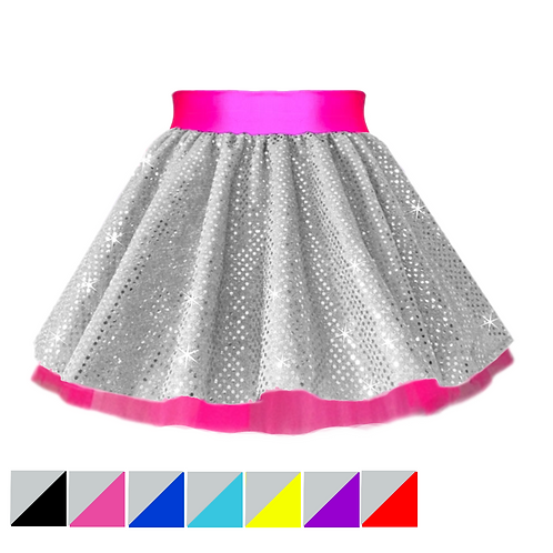IC189 SILVER SEQUIN SPACE SKIRT