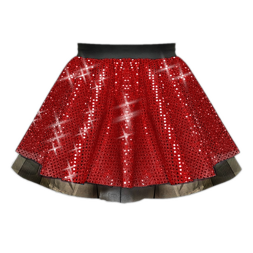 IC122 Red Sequin Tutu Dance Show Skirt