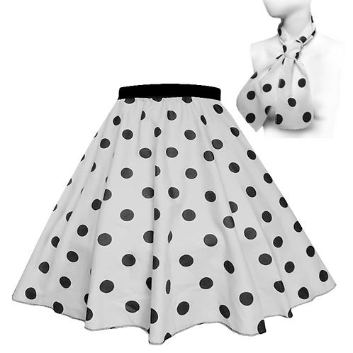 White and Black Polka Dot Rock n Roll Skirt