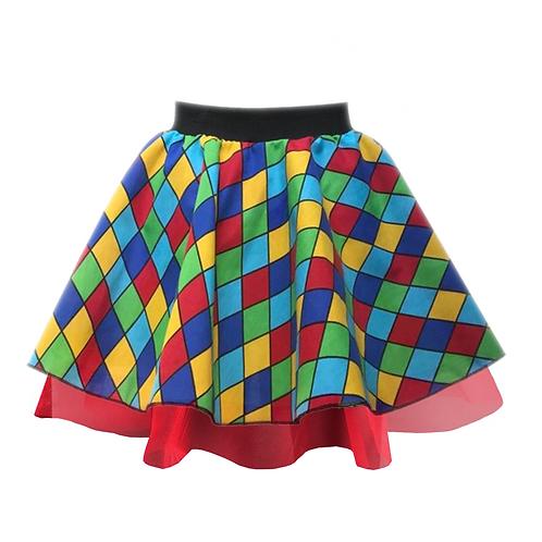 IC251  Rainbow Check Clown Skirt