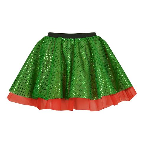 IC239 Green Sequin & Red Net Skirt