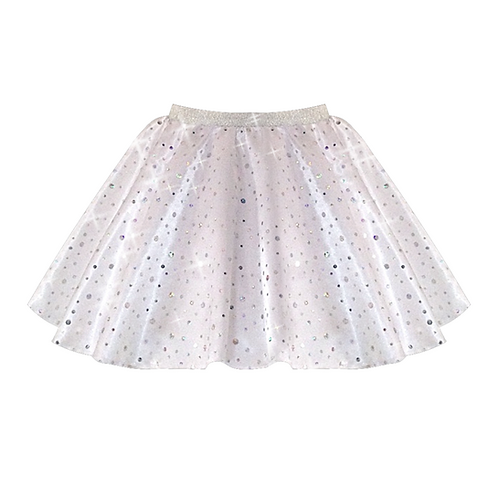 IC208 White Satin Sequin Skirt