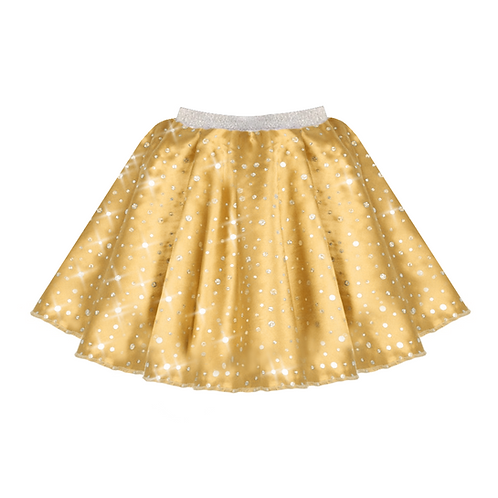 IC208 Gold Satin Sequin Skirt