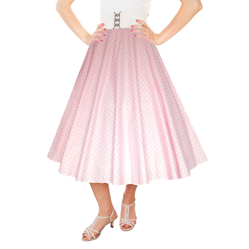 IC263 Baby Pink 1950's Style 'Dotty' Skirt