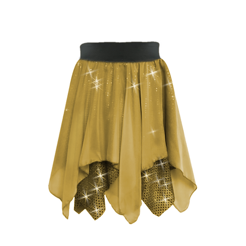 IC341 Gold Sequin & Chiffon Lyrical Skirt