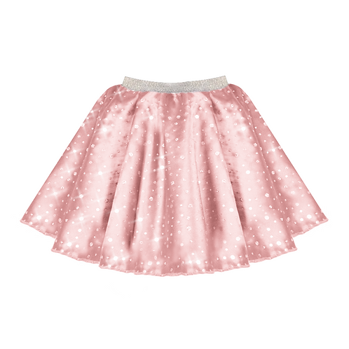 IC208 Baby Pink Satin Sequin Skirt