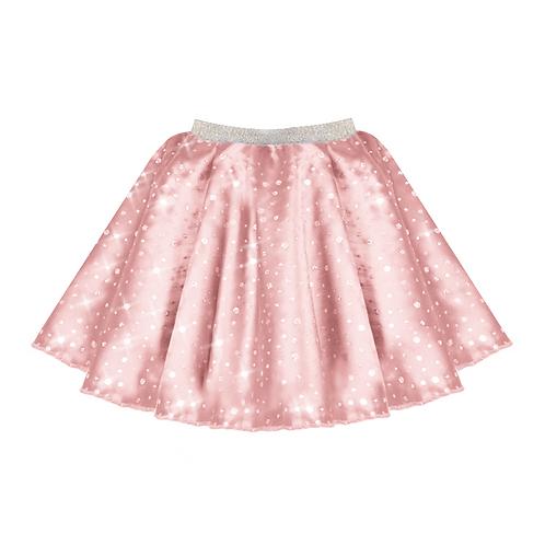 IC208 Baby Pink Satin Sequin Skirt