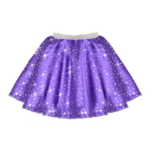 IC208 Purple Satin Sequin Skirt