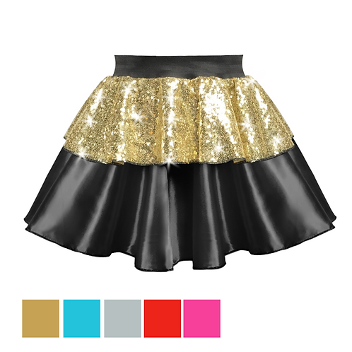 IC304 Sequin & Black Satin Layer Skirt