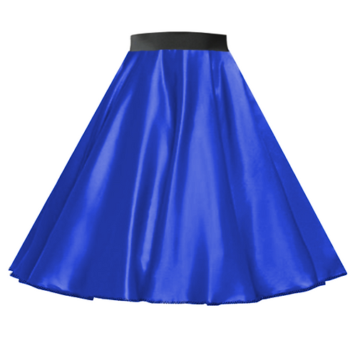 Satin Rock n Roll Skirt Royal Blue