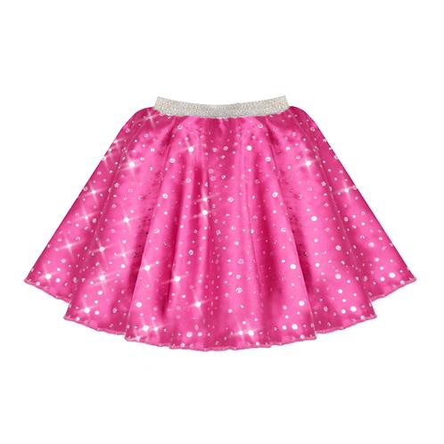 IC208 Cerise Satin Sequin Skirt