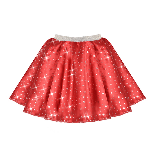 IC208 Red Satin Sequin Skirt
