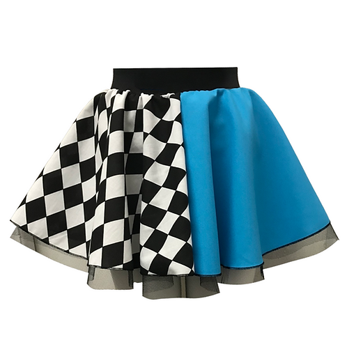 Turquoise Harlequin Skirt with net