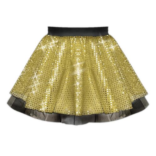 IC122 Gold Sequin Tutu Dance Show Skirt