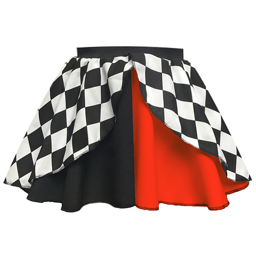 IC275 Jester Black & Red Layered Skirt