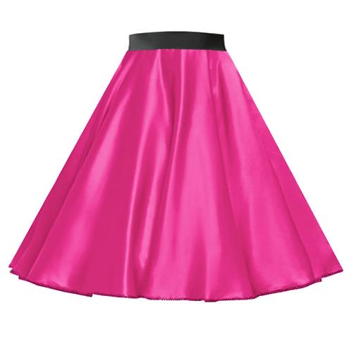 Satin Rock n Roll Skirt Cerise Pink
