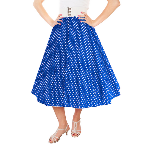 IC263 Royal Blue 1950's Style 'Dotty' Skirt