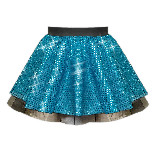 IC122 Turquoise Sequin Tutu Dance Show Skirt