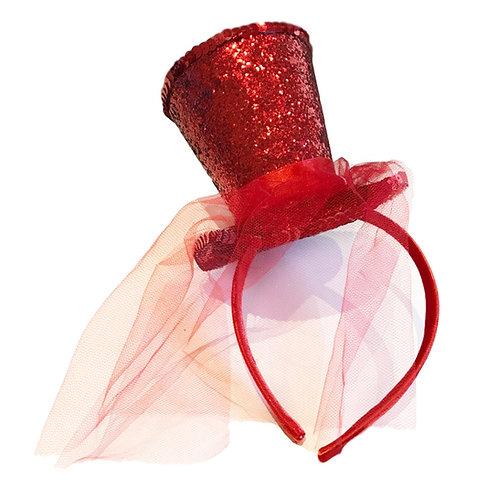 IC285 Glitter Mini Top Hat Headband