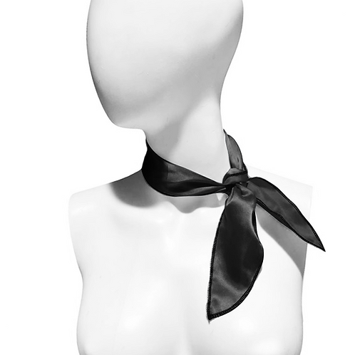IC266 1950's Black Satin Neck Scarf