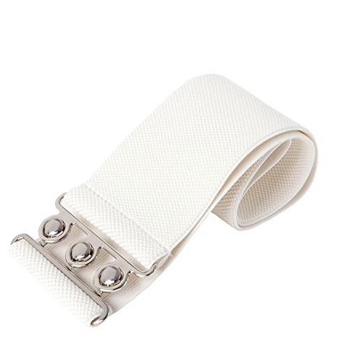 White 1950s Retro Vintage Style Rockabilly Waist Belt